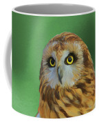 Short Eared Owl On Green Coffee Mug