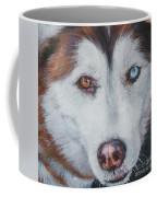 Siberian Husky Red Coffee Mug by Lee Ann Shepard