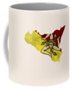 Sicily Map Art With Flag Design Coffee Mug