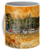 Sienna Sky Boat Marina Nautical Art Coffee Mug