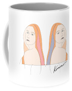 Silent Eve Mirror- Beautiful Woman Portrait Minimalist Drawing Coffee Mug