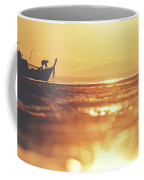 Silhouette Of A Thai Fisherman Wooden Boat Longtail During Beautiful Sunrise Coffee Mug