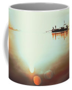 Silhouette Of A Thai Fisherman Wooden Boat Longtail During Beautiful Sunrise Thailand Coffee Mug