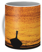 Silhouette Of A Thai Wooden Boat  On The Beach Against Golden Sunset Koh Lanta, Thailand Coffee Mug
