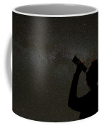 Silhouette Of Woman Looking At Stars Coffee Mug