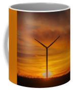 Silhouettes Of Wind Turbines With A Beautiful Sunset Coffee Mug