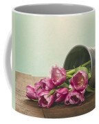Silver Container With Fresh Tulips Coffee Mug
