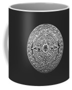 Silver Mayan-aztec Calendar On Black And Red Leather Coffee Mug