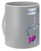 Silver Metal Frame Heart With Two Little Purple Hearts Coffee Mug