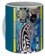Silver Tabby With Mandala - Cat Art By Dora Hathazi Mendes Coffee Mug