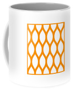 Simplified Latticework With Border In Tangerine Coffee Mug