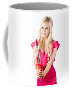 Sincere Woman Saying Thank You With Flower Coffee Mug
