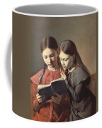 Sisters Reading A Book Coffee Mug by Carl Hansen