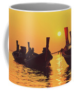 Six Thai Wooden Boats Floating And Glittering In The Lagoon During Golden Sunset Koh  Coffee Mug