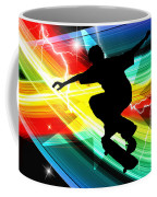 Skateboarder In Criss Cross Lightning Coffee Mug by Elaine Plesser