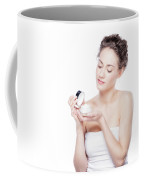 Skin Care. Young Woman Opening A Creme Jar Coffee Mug