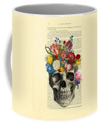 Skull With Flowers Vintage Illustration Coffee Mug