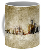skyline of Detroit in modern and abstract vintage-look Coffee Mug