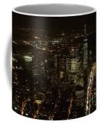 Skyline Of New York City - Lower Manhattan Night Aerial Coffee Mug