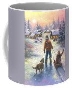 Sledding To The Village Coffee Mug