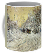 Sleigh Ride In Central Park Coffee Mug by Childe Hassam