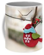 Small Red Handicraft Bird Hanging On A Wire Coffee Mug