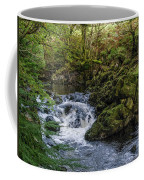 Small River Cascade Over Mossy Rocks In Northern Wales Coffee Mug