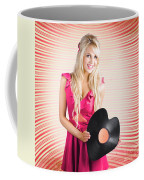 Smiling Dj Woman In Love With Retro Music Coffee Mug