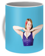 Smiling Retro Woman Showing Lipstick Makeup Coffee Mug