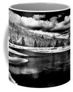 Snow At The River - Bw Coffee Mug