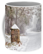 Snow Covered Brick Pillar Coffee Mug