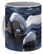 Snow Covered River Rocks Coffee Mug