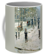 Snow Storm On Fifth Avenue Coffee Mug by Childe Hassam