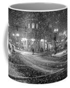 Snowfall In Harvard Square Cambridge Ma 2 Black And White Coffee Mug
