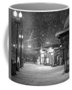 Snowfall In Harvard Square Cambridge Ma Kiosk Black And White Coffee Mug