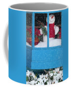 Snowman And Poinsettias - Frosty Christmas Coffee Mug
