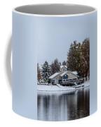 Snowy Boat House Coffee Mug