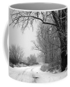 Snowy Branch Over Country Road - Black And White Coffee Mug