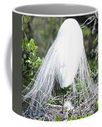 Snowy Egret Mom And Chick Coffee Mug