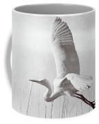 Snowy Egret Morning Bw Coffee Mug