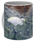 Snowy Egret Near Jetty Rock Coffee Mug