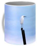Snowy Egret On Post Coffee Mug