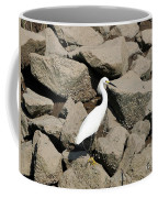 Snowy Egret On The Rocks Coffee Mug