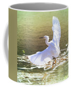 Snowy Egret Over Golden Pond Coffee Mug