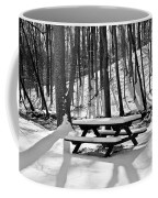 Snowy Picnic Table In Black And White Coffee Mug