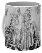 Snowy Sequoias At Calaveras Big Tree State Park Black And White 3 Coffee Mug
