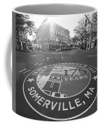 Somerville Ma Davis Square 175 Years Black And White Coffee Mug