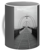 Southport Pier At Sunset With Walkway And Tram Lines Coffee Mug