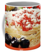 Spaghetti With Tomatoes And Olives Food Background Coffee Mug