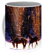 Spanish Mustangs Playing In The Powder Snow Coffee Mug